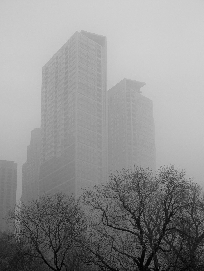 Chicago fog near Navy Pier